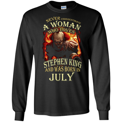 July T-shirt Never Underestimate A Woman Who Loves Stephen King Black / Small LS Ultra Cotton Tshirt - WackyTee