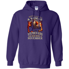 November T-shirt Never Underestimate A Woman Who Loves Stephen King Pullover Hoodie 8 oz - WackyTee