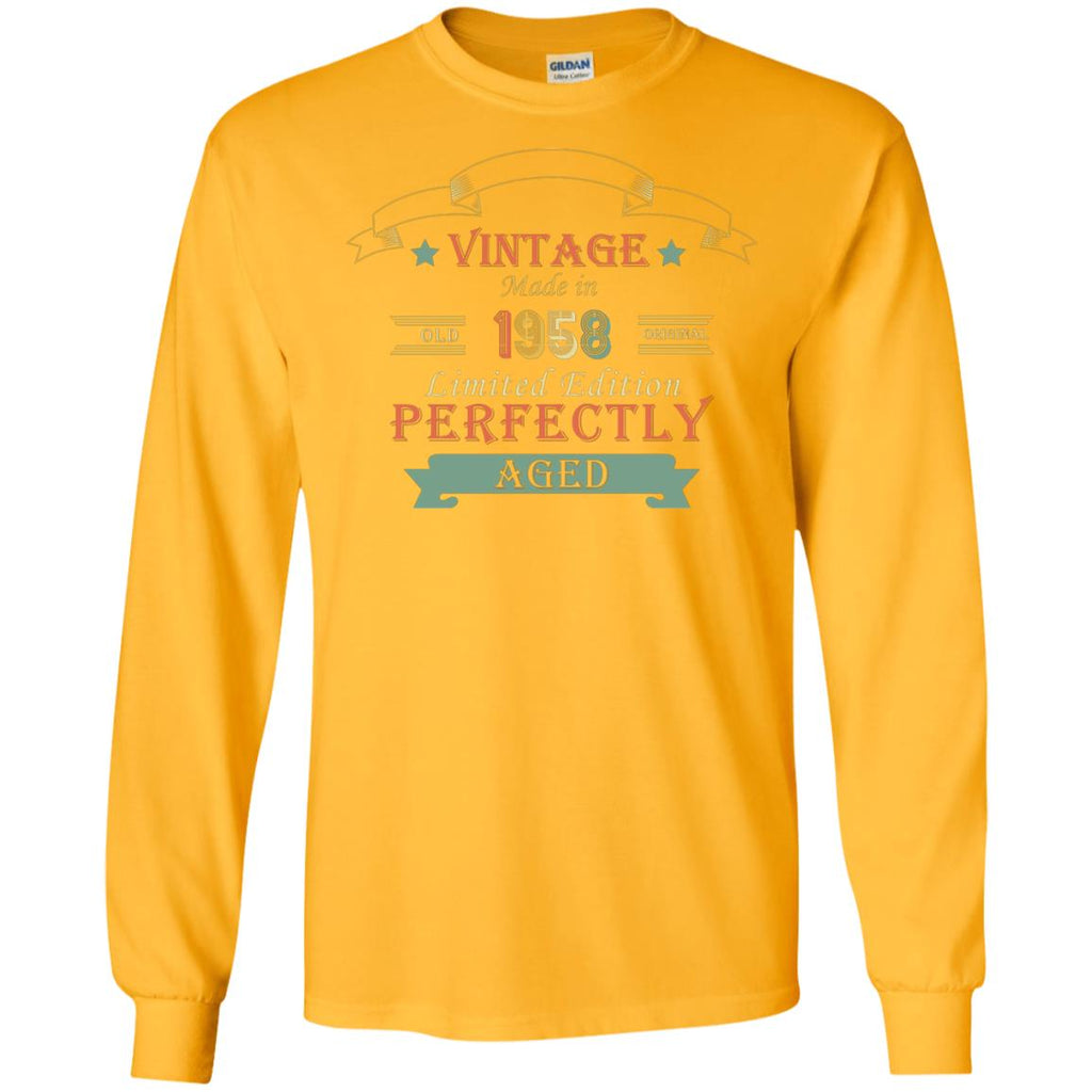 69a9e1f34 Vintage Made In Old 1958 Original Limited Edition Perfectly Aged 60th  Birthday T-shirtG240 Gildan