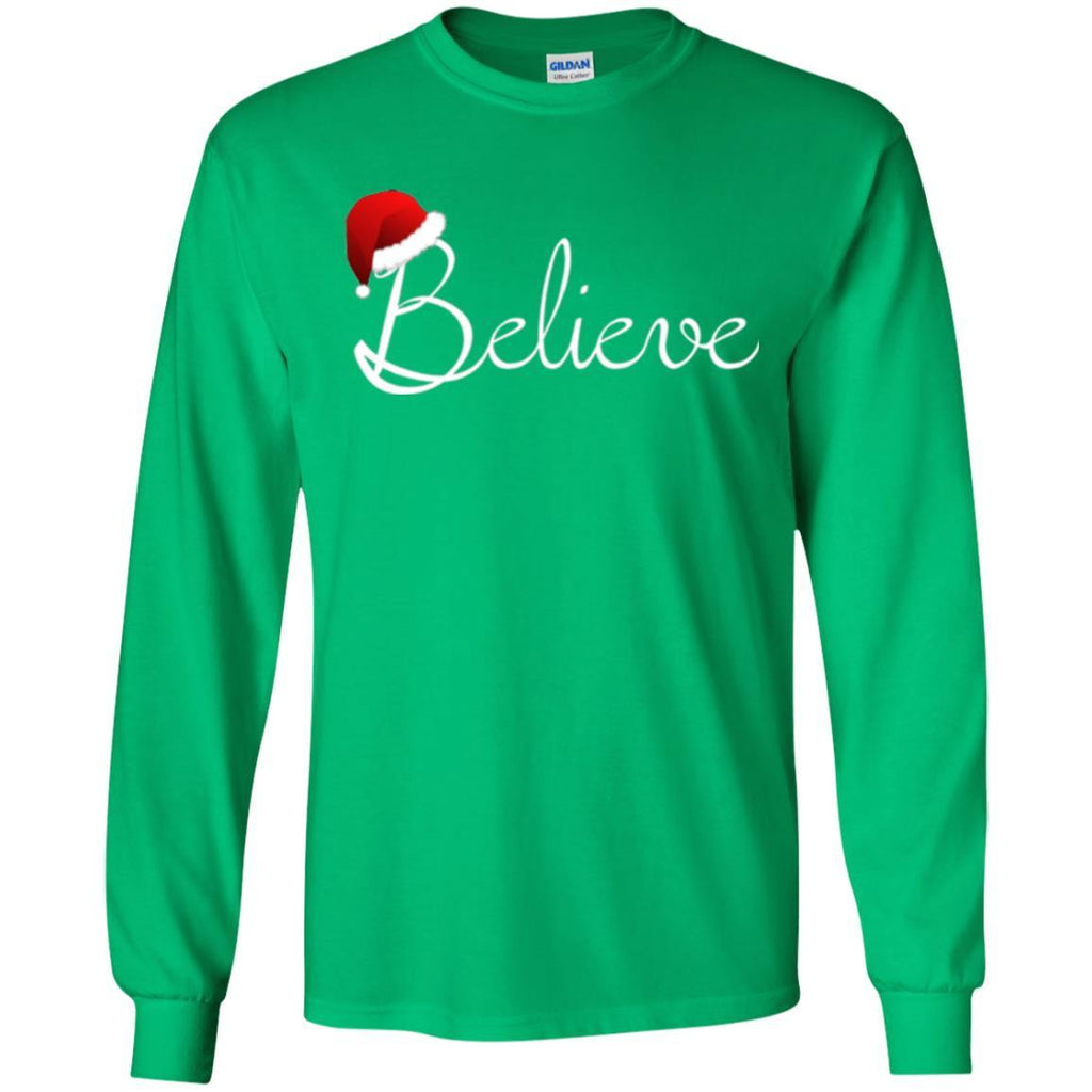 believe christmas shirt best santa christmas t shirt g240 gildan ls ultra cotton t