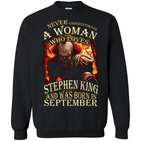 a79a89a3 September T-shirt Never Underestimate A Woman Who Loves Stephen King Black  / Small Printed