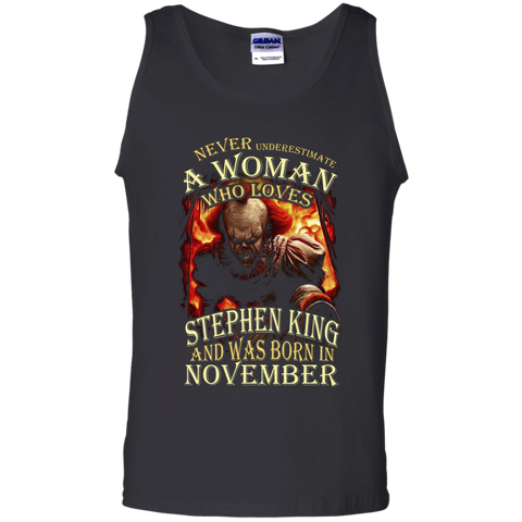 November T-shirt Never Underestimate A Woman Who Loves Stephen King Black / Small Tank Top - WackyTee