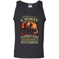November T-shirt Never Underestimate A Woman Who Loves Stephen King Tank Top - WackyTee