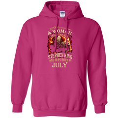 July T-shirt Never Underestimate A Woman Who Loves Stephen King Pullover Hoodie 8 oz - WackyTee