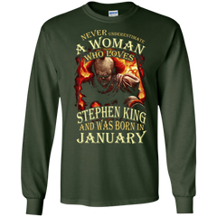 January T-shirt Never Underestimate A Woman Who Loves Stephen King LS Ultra Cotton Tshirt - WackyTee