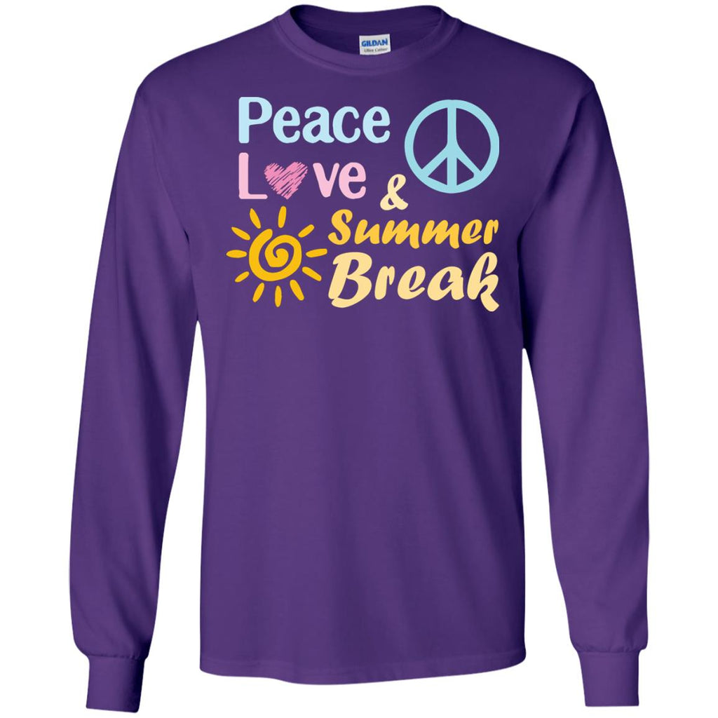 Peace Love And Summer Break Shirt For Summer Vacation 2018