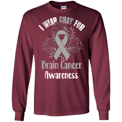 I Wear Gray For Brain Cancer Awareness T-shirt LS Ultra Cotton Tshirt - WackyTee