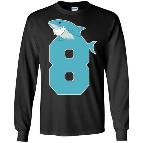 8th Birthday Shark Party ShirtG240 Gildan LS Ultra Cotton T Shirt Black S G240