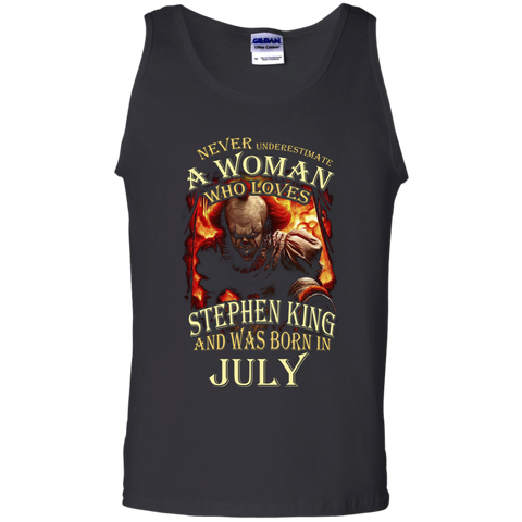 July T-shirt Never Underestimate A Woman Who Loves Stephen King Black / Small Tank Top - WackyTee