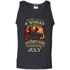 July T-shirt Never Underestimate A Woman Who Loves Stephen King Tank Top - WackyTee