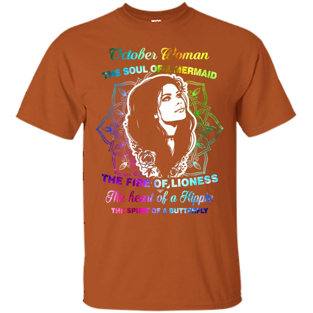 87f3efe2 October Woman Shirt The Soul Of A Mermaid The Fire Of Lioness The Heart Of A