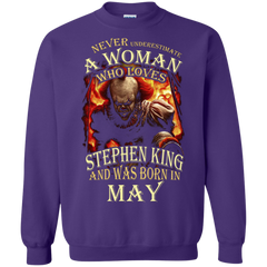 May T-shirt Never Underestimate A Woman Who Loves Stephen King Printed Crewneck Pullover Sweatshirt 8 oz - WackyTee