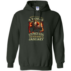 January T-shirt Never Underestimate A Woman Who Loves Stephen King Pullover Hoodie 8 oz - WackyTee