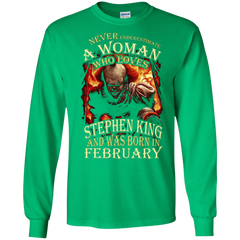February T-shirt Never Underestimate A Woman Who Loves Stephen King LS Ultra Cotton Tshirt - WackyTee