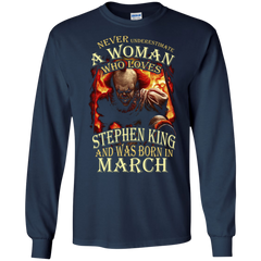 March T-shirt Never Underestimate A Woman Who Loves Stephen King LS Ultra Cotton Tshirt - WackyTee