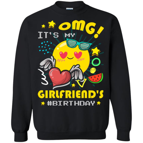 Boyfriend T Shirt Omg Its My Girlfriends Birthday Black S G180 Gildan Crewneck