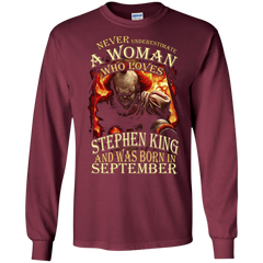 September T-shirt Never Underestimate A Woman Who Loves Stephen King LS Ultra Cotton Tshirt - WackyTee