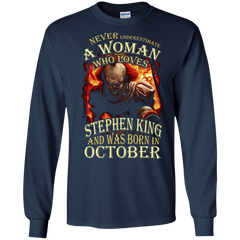 October T-shirt Never Underestimate A Woman Who Loves Stephen King LS Ultra Cotton Tshirt - WackyTee