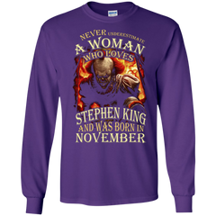 November T-shirt Never Underestimate A Woman Who Loves Stephen King LS Ultra Cotton Tshirt - WackyTee