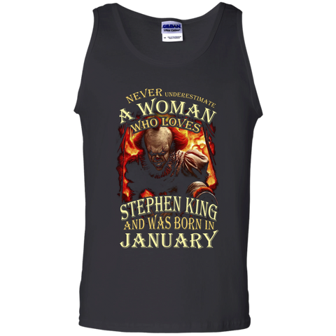 January T-shirt Never Underestimate A Woman Who Loves Stephen King Black / Small Tank Top - WackyTee