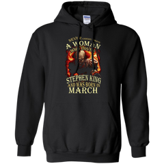 March T-shirt Never Underestimate A Woman Who Loves Stephen King Pullover Hoodie 8 oz - WackyTee