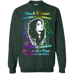 March Woman T-shirt The Heart Of A Hippie Printed Crewneck Pullover Sweatshirt 8 oz - WackyTee