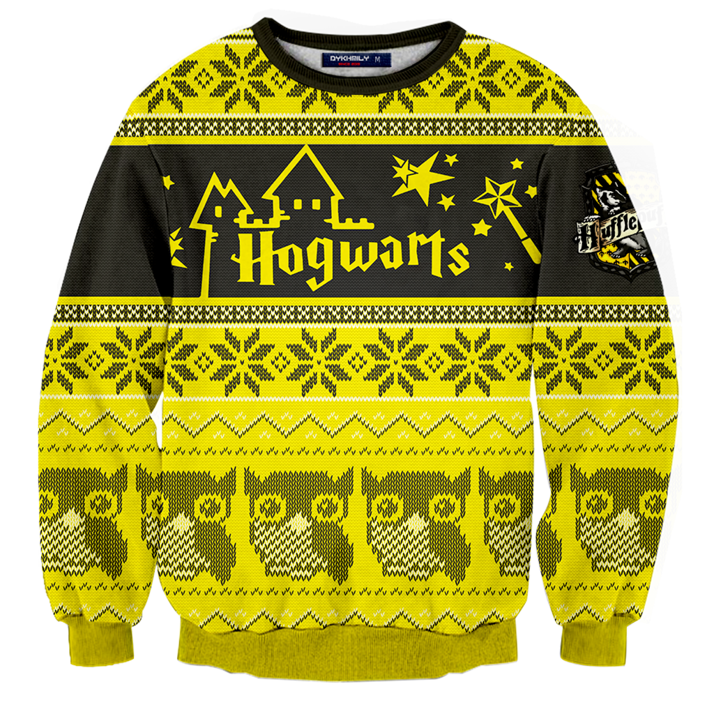 fd0335452 Hufflepuff Harry Potter Ugly Christmas 3D Sweater Fullprinted 3D Sweater -  WackyTee