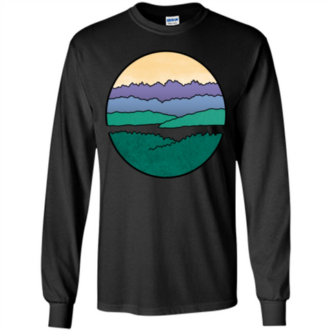 Mountains Over The Sound T-shirt Black / S LS Ultra Cotton Tshirt - WackyTee