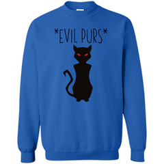 Halloween Black Cat T-shirt Evil Purs Mean Kitty Lovers Gift T-shirt Printed Crewneck Pullover Sweatshirt 8 oz - WackyTee