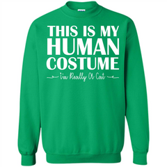 Halloween T-shirt This Is My Human Costume I'm Really A Cat T-shirt Printed Crewneck Pullover Sweatshirt 8 oz - WackyTee