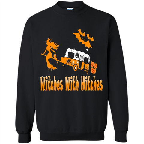 Funny Halloween T-shirt Witches With Hitches Camping Black / S Printed Crewneck Pullover Sweatshirt 8 oz - WackyTee