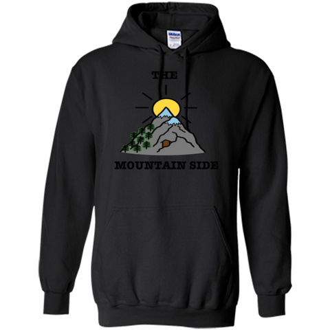 The Mountain Side T-shirt Black / S Pullover Hoodie 8 oz - WackyTee