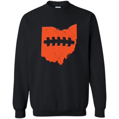 Ohio Outline Football T-shirt Black / S Printed Crewneck Pullover Sweatshirt 8 oz - WackyTee