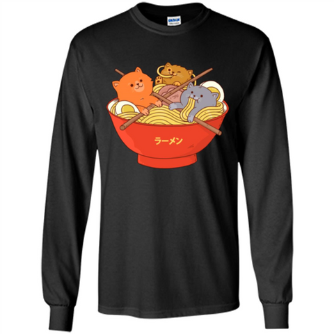 Ramen Noodles And Cats T-shirt Black / S LS Ultra Cotton Tshirt - WackyTee