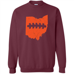 Ohio Outline Football T-shirt Printed Crewneck Pullover Sweatshirt 8 oz - WackyTee