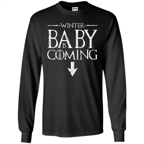 Funny Humor Maternity T-shirt  Winter Baby is Coming Black / S LS Ultra Cotton Tshirt - WackyTee