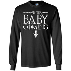 Funny Humor Maternity T-shirt  Winter Baby is Coming LS Ultra Cotton Tshirt - WackyTee
