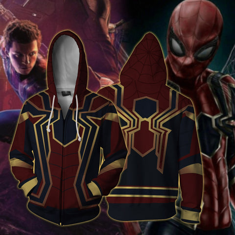 Spider-man: Homecoming Iron Spider Cosplay Zip Up Hoodie Jacket US/EU XXS (ASIAN S) Fullprinted Zip Up Hoodie - WackyTee