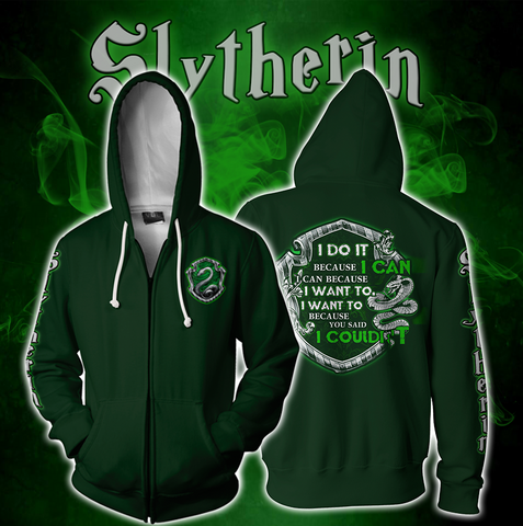 Slytherin Harry Potter Zip Up Hoodie US/EU XXS (ASIAN S) Fullprinted Zip Up Hoodie - WackyTee