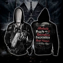 Asshole Dad and Smartass Daughter Best Friends For Life Zip Up Hoodie