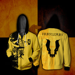 Quidditch Hufflepuff Harry Potter 3D Zip Up Hoodie