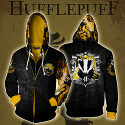 The Hufflepuff Badger Harry Potter Zip Up Hoodie