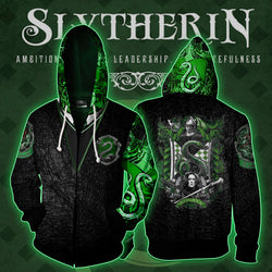 The Slytherin Snake Harry Potter Zip Up Hoodie