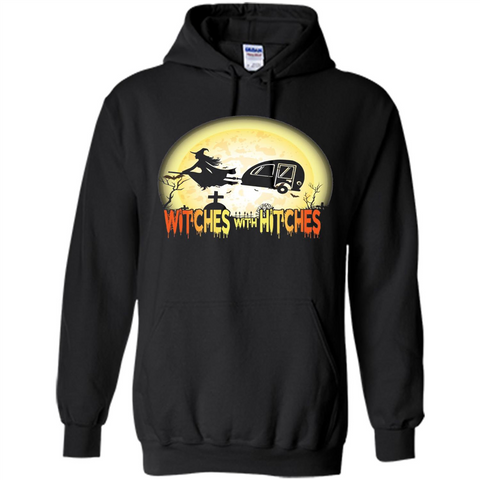 631290a9 Witches With Hitches Camping Funny T-shirt Halloween T-shirt Black / S  Pullover