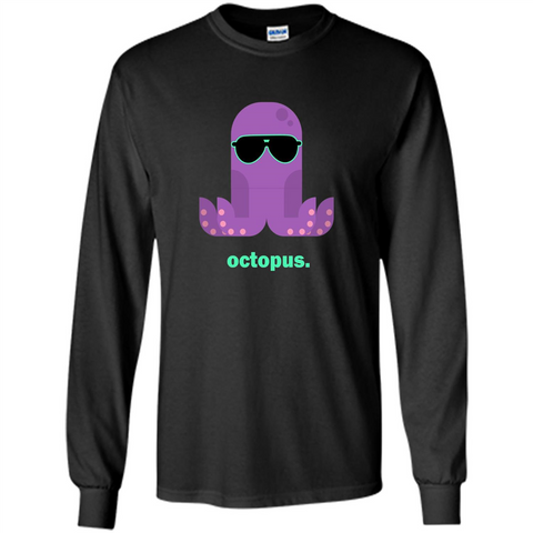 Sunglasses Hipster Squid T-shirt Sea Animals Octopus T-Shirt Black / S LS Ultra Cotton Tshirt - WackyTee