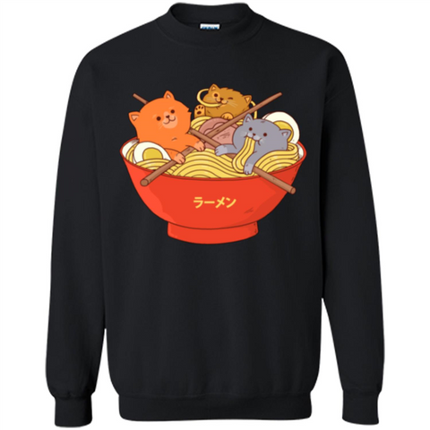 Ramen Noodles And Cats T-shirt Black / S Printed Crewneck Pullover Sweatshirt 8 oz - WackyTee