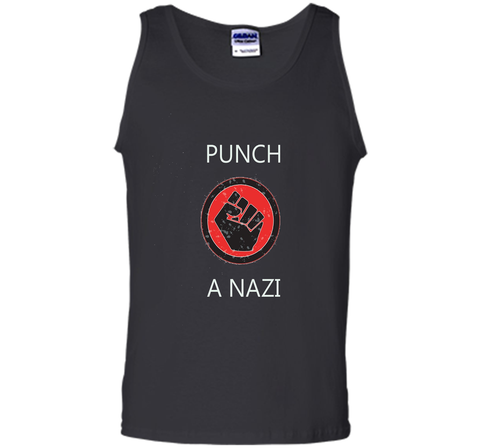Punch A Nazi - Statement T-shirt shirt Black / S Tank Top - WackyTee