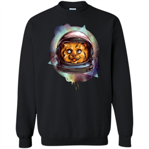 Space Kitty T-shirt Black / S Printed Crewneck Pullover Sweatshirt 8 oz - WackyTee