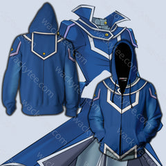 Yu-Gi-Oh! Obelisk Blue Male Cosplay Zip Up Hoodie Jacket Fullprinted Zip Up Hoodie - WackyTee