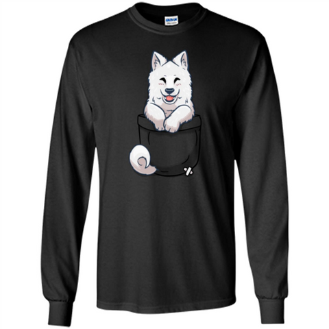 Pocket Samoyed T-shirt Cute Samoyed tshirt Black / S LS Ultra Cotton Tshirt - WackyTee